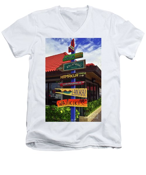 Men's V-Neck T-Shirt featuring the photograph Lanikai Kailua Waikiki Beach Signs by Aloha Art