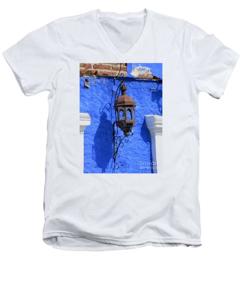 Lantern On Blue Wall Men's V-Neck T-Shirt