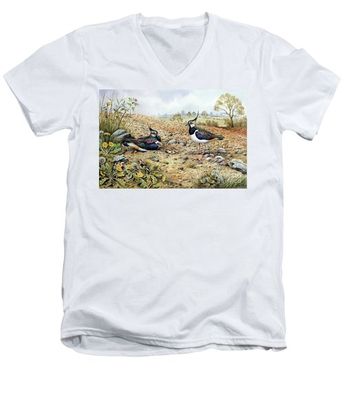 Lapwing Family With Goldfinches Men's V-Neck T-Shirt by Carl Donner