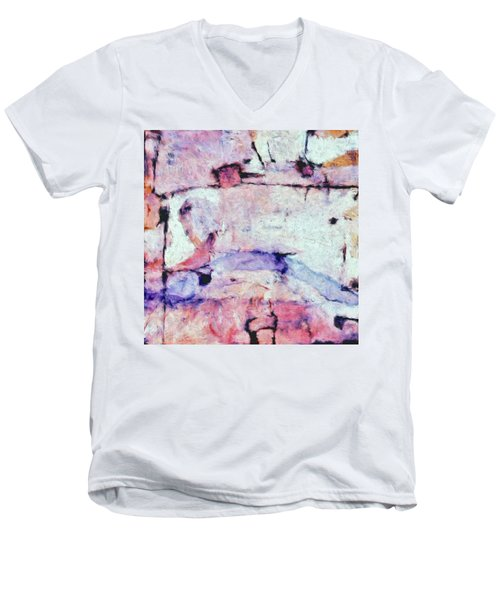 Men's V-Neck T-Shirt featuring the painting Laredo by Dominic Piperata