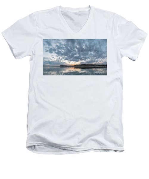 Large Panorama Of Storm Clouds Reflecting On Large Lake At Sunse Men's V-Neck T-Shirt