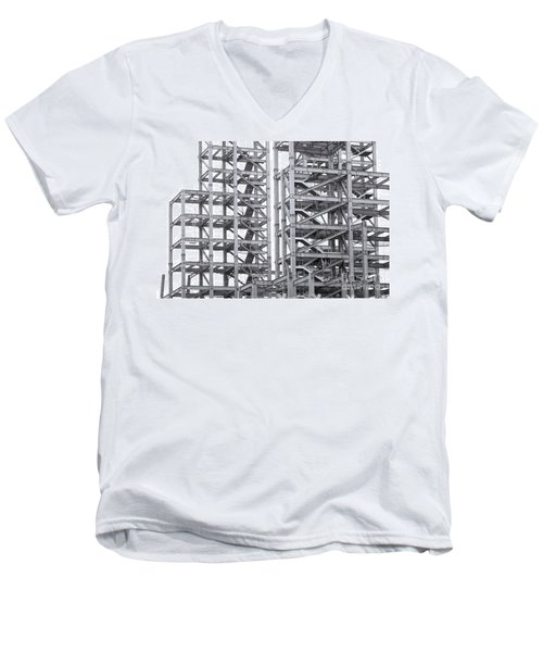 Men's V-Neck T-Shirt featuring the photograph Large Scale Construction Project With Steel Girders by Yali Shi