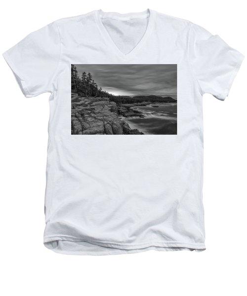Last Light At Otter Cliff Men's V-Neck T-Shirt