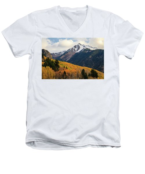 Men's V-Neck T-Shirt featuring the photograph Last Light Of Autumn by David Chandler