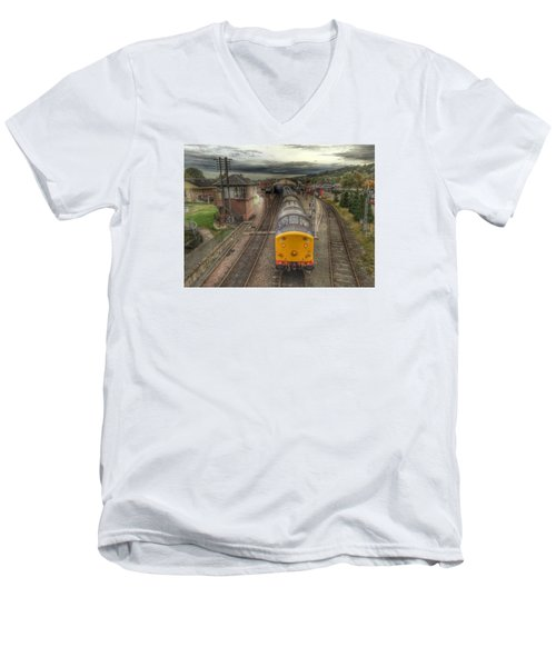 Men's V-Neck T-Shirt featuring the photograph Last Train To Manuel by RKAB Works