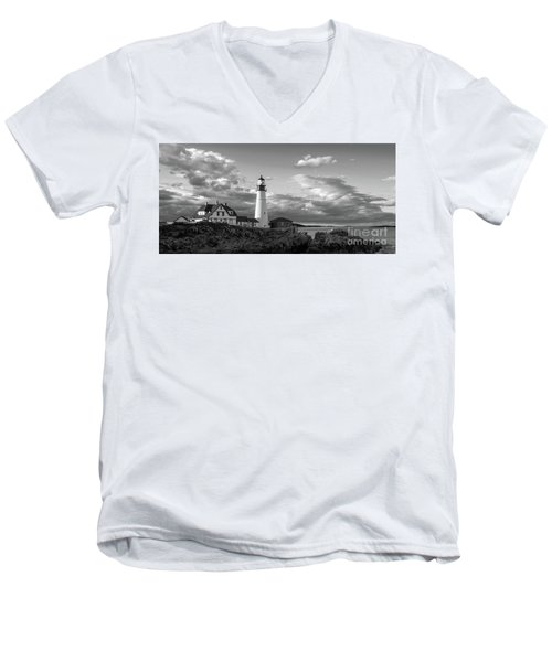 Late Afternoon Clouds, Portland Head Light  -98461 Men's V-Neck T-Shirt by John Bald