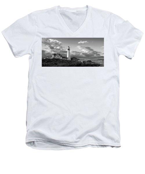 Late Afternoon Clouds, Portland Head Light  -98461 Men's V-Neck T-Shirt