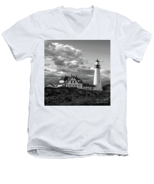 Late Afternoon Clouds, Portland Head Light  -98461-sq Men's V-Neck T-Shirt
