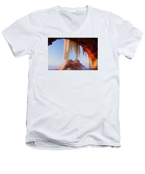 Men's V-Neck T-Shirt featuring the photograph Late Afternoon In An Ice Cave by Larry Ricker