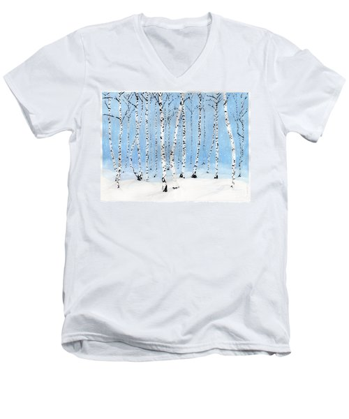Late Afternoon Snowstorm In The Forest Men's V-Neck T-Shirt