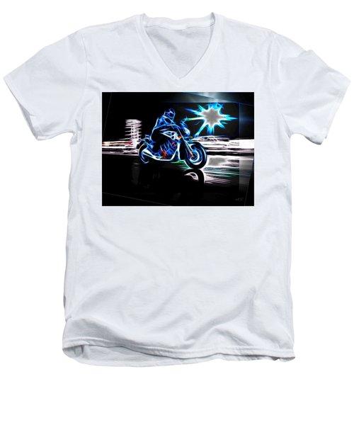 Men's V-Neck T-Shirt featuring the digital art Late Night Street Racing by Maciek Froncisz