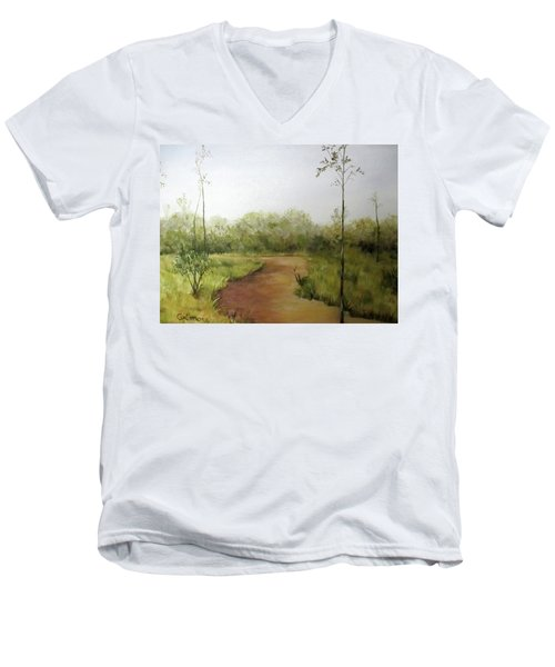 Men's V-Neck T-Shirt featuring the painting Late Summer Walk by Roseann Gilmore