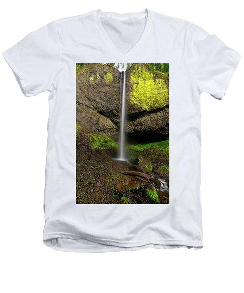 Latourell Falls Men's V-Neck T-Shirt by Jonathan Davison