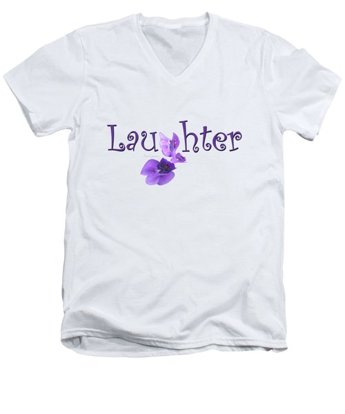 Men's V-Neck T-Shirt featuring the digital art Laughter Shirt by Ann Lauwers