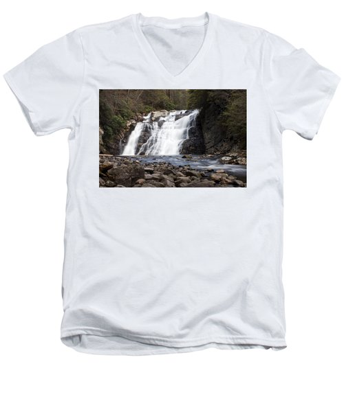 Men's V-Neck T-Shirt featuring the photograph Laurel Falls In Spring #1 by Jeff Severson