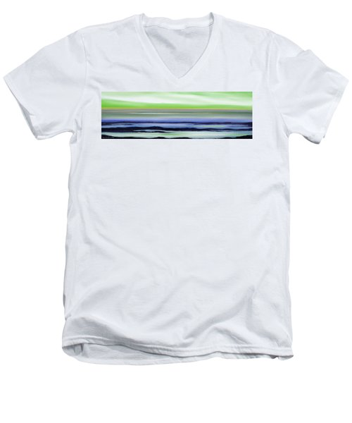 Lava Rock Panoramic Sunset In Green And Blue Men's V-Neck T-Shirt