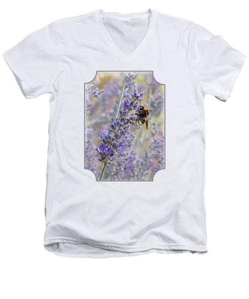 Lavender Bee Men's V-Neck T-Shirt