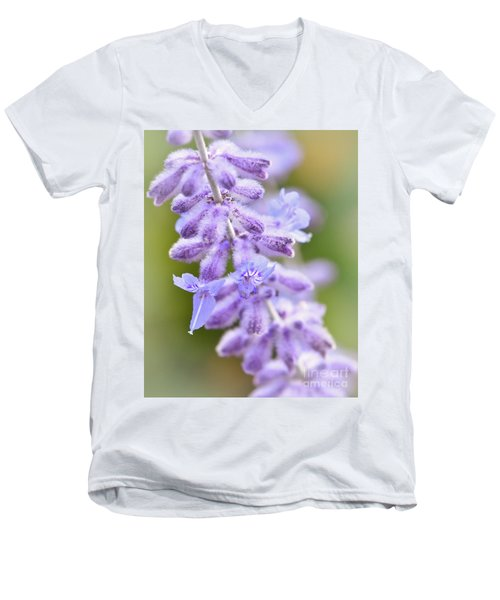 Men's V-Neck T-Shirt featuring the photograph Lavender Blooms by Kerri Farley