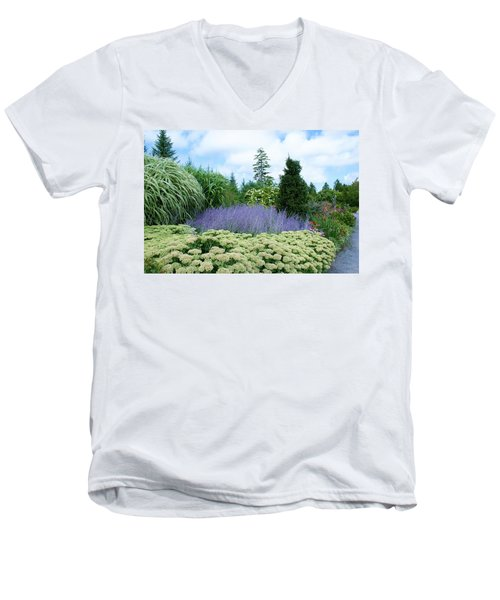 Lavender In The Middle Men's V-Neck T-Shirt by Lois Lepisto