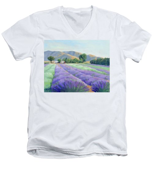 Men's V-Neck T-Shirt featuring the painting Lavender Lines by Sandy Fisher