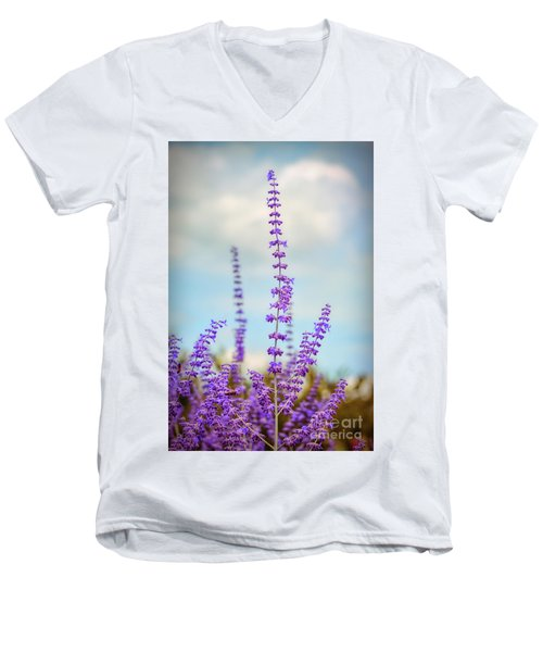 Men's V-Neck T-Shirt featuring the photograph Lavender To The Sky by Kerri Farley