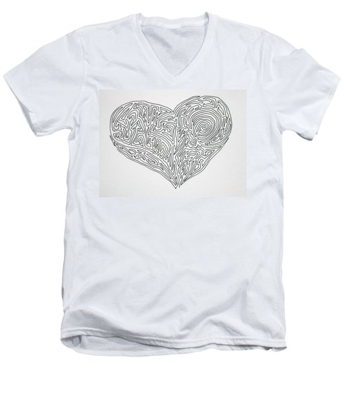 Laying Your Heart On A Line  Men's V-Neck T-Shirt
