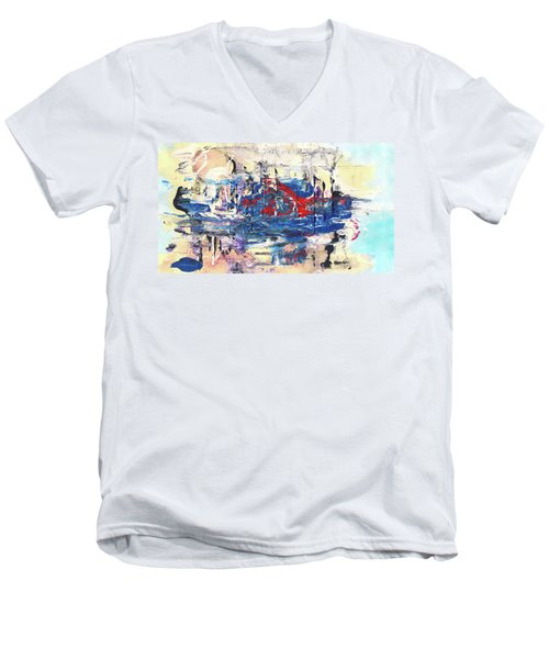 Laziness - Large Bright Pastel Abstract Art Men's V-Neck T-Shirt by Modern Art Prints