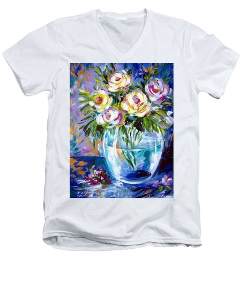 Men's V-Neck T-Shirt featuring the painting Le Rose Bianche by Roberto Gagliardi