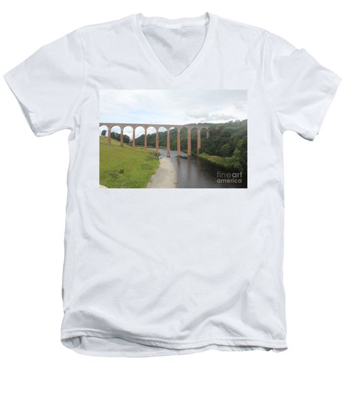 Leaderfoot Viaduct Men's V-Neck T-Shirt by David Grant