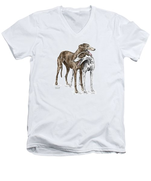 Men's V-Neck T-Shirt featuring the drawing Lean On Me - Greyhound Dogs Print Color Tinted by Kelli Swan