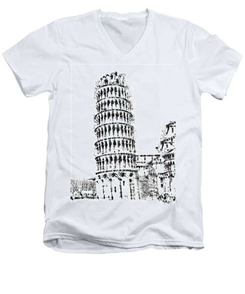 Leaning Tower Of Pisa Men's V-Neck T-Shirt by ISAW Gallery