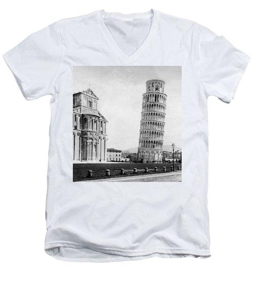 Leaning Tower Of Pisa Italy - C 1902  Men's V-Neck T-Shirt