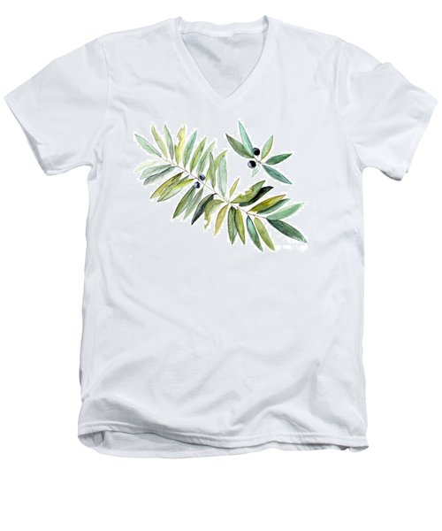 Men's V-Neck T-Shirt featuring the painting Leaves And Berries by Laurie Rohner