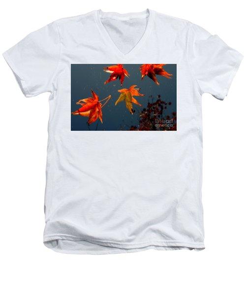 Leaves Falling Down Men's V-Neck T-Shirt by Marie Neder