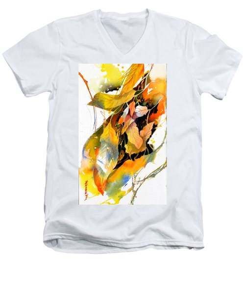 Men's V-Neck T-Shirt featuring the painting Leaves by Rae Andrews