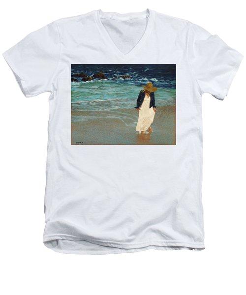 Leaving The Beach Men's V-Neck T-Shirt