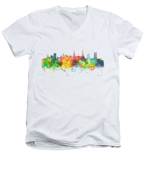 Leeds England Skyline Men's V-Neck T-Shirt