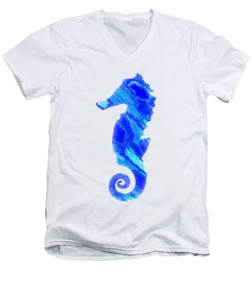 Left Facing Seahorse Bt Men's V-Neck T-Shirt