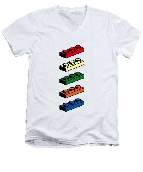 Men's V-Neck T-Shirt featuring the photograph Lego T-shirt Pop Art by Edward Fielding