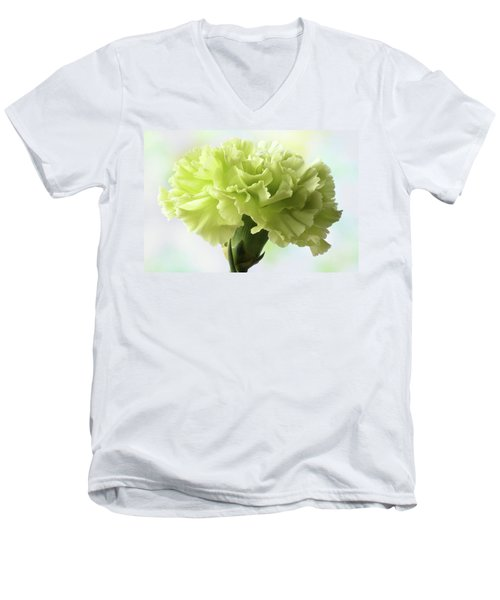 Men's V-Neck T-Shirt featuring the photograph Lemon Carnation by Terence Davis
