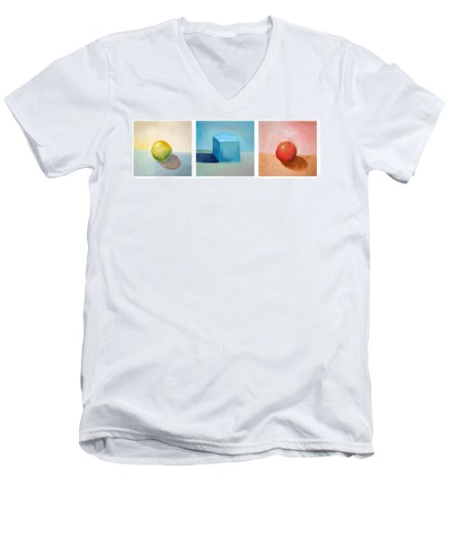 Lemon Cube Sphere Men's V-Neck T-Shirt