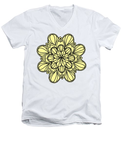 Lemon Lily Mandala Men's V-Neck T-Shirt by Georgiana Romanovna