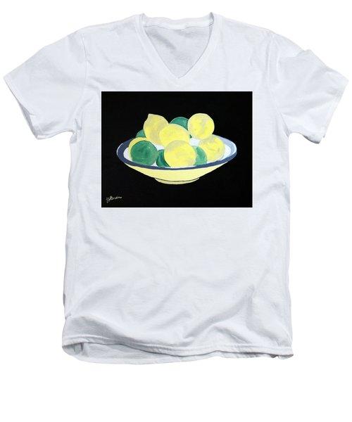 Lemons And Limes In Bowl Men's V-Neck T-Shirt