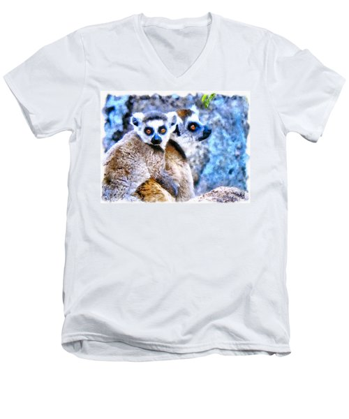 Lemurs Of Madagascar Men's V-Neck T-Shirt by Maciek Froncisz