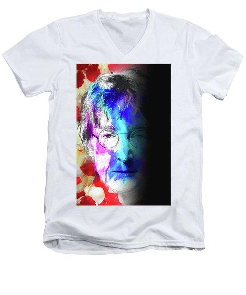Men's V-Neck T-Shirt featuring the digital art Lennon by John Haldane
