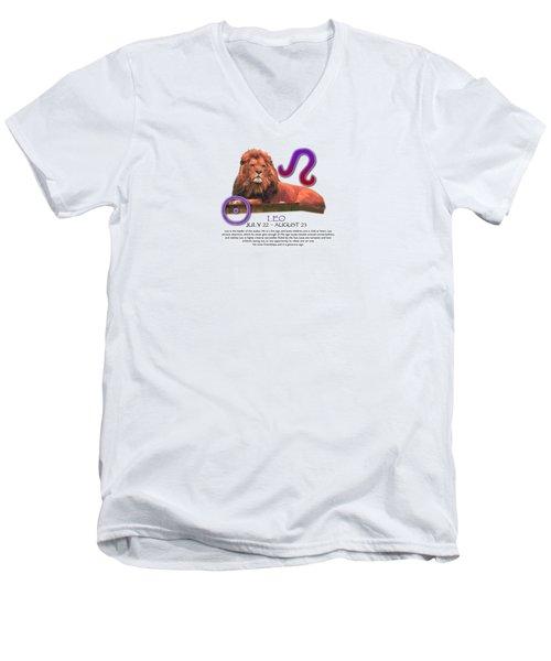 Leo Sun Sign Men's V-Neck T-Shirt by Shelley Overton