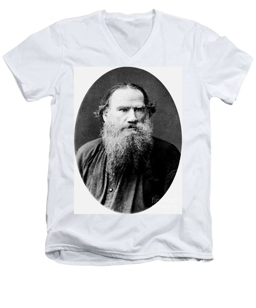 Leo Tolstoy Men's V-Neck T-Shirt by Pg Reproductions