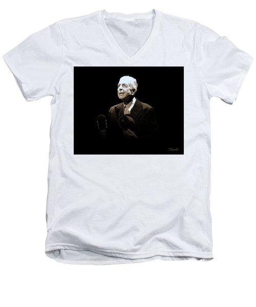 Portrait Of Leonard Cohen Men's V-Neck T-Shirt
