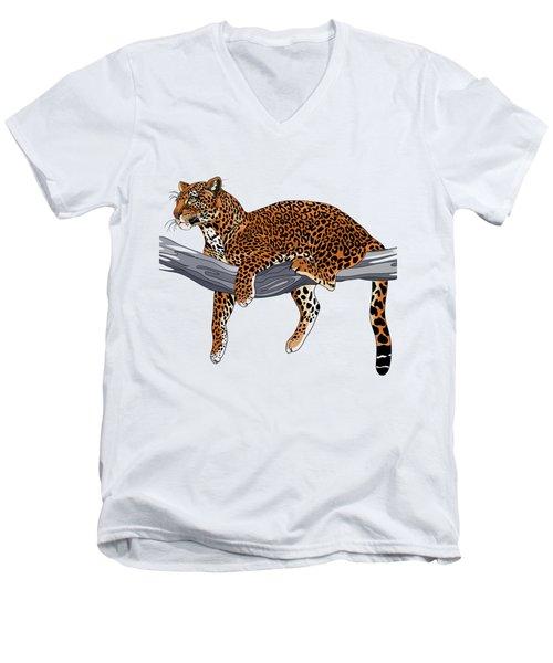 Leopard Men's V-Neck T-Shirt by Alexandra Panaiotidi
