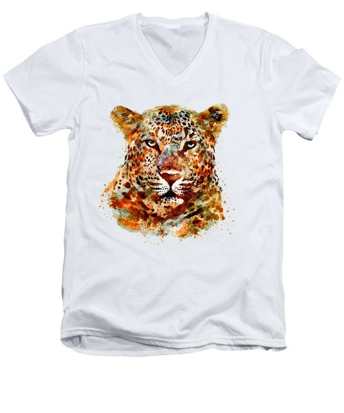 Leopard Head Watercolor Men's V-Neck T-Shirt by Marian Voicu